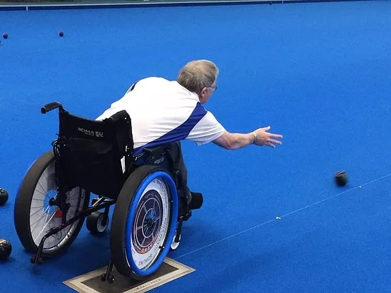 parahandy wheelchair for bowlers who cannot stand to bowl