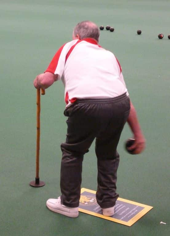 disability bowls equipment- walking stick with large ferrule to aid stability